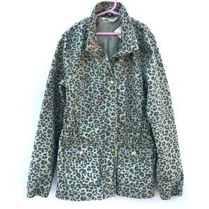 Cheetah Leopard Print Cotton Utility Field Jacket